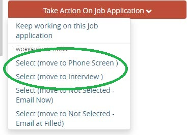 Screenshot: Move to Phone Screen and/or Interview