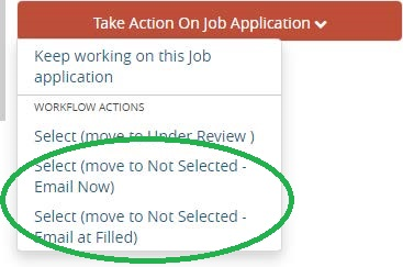 Screenshot: Applicants can be removed at any stage and emailed either immediately or when the position is filled