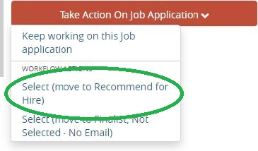 Screenshot: Move to Recommend to Hire