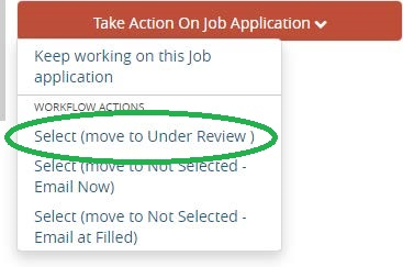 Screenshot: Move to Under Review