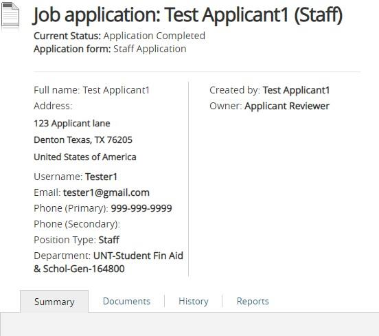 Screenshot: Applicant Summary Page