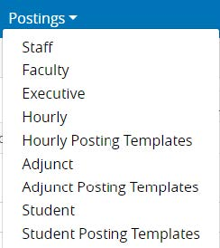 Screenshot: Postings > Employee Category