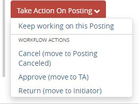 Screenshot: Take Action on Posting > Approve