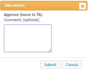 Screenshot: Take Action > Approve Comments and Submit