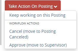 Screenshot: Take Action on Posting