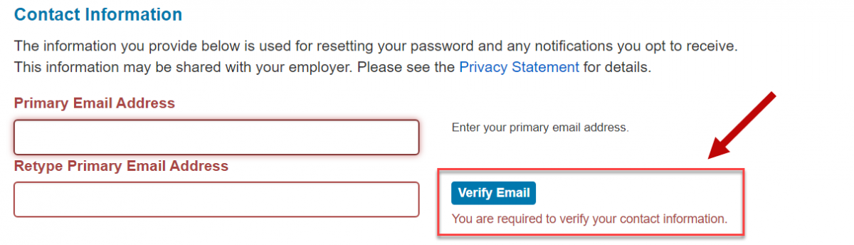 Screenshot: Email verification code for 1095 site