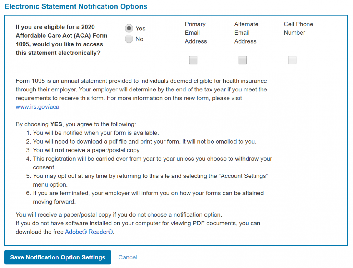Screenshot: Electronic Statement Notification Options for 1095 site