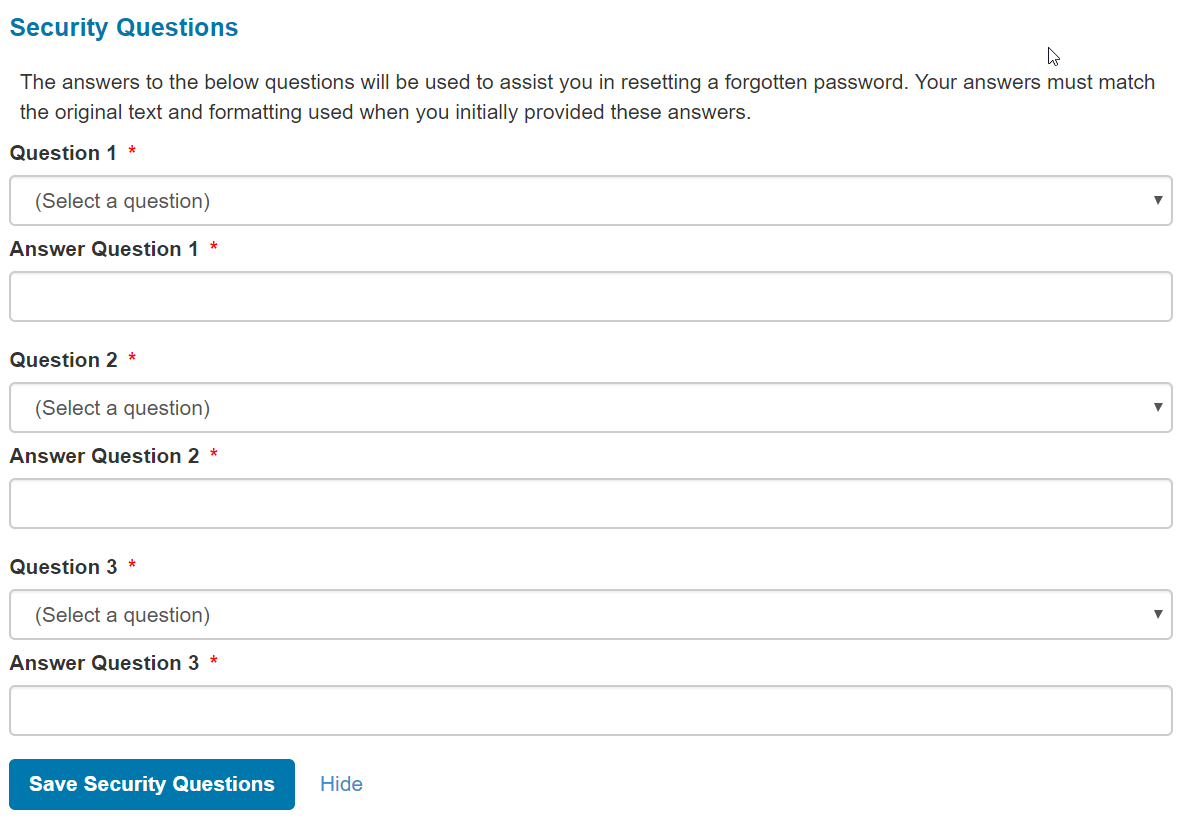 Screenshot: Security questions for 1095 site