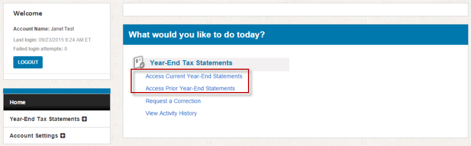 Screenshot: Landing page for 1095 site pointing out where to access Current or Prior year-end statements
