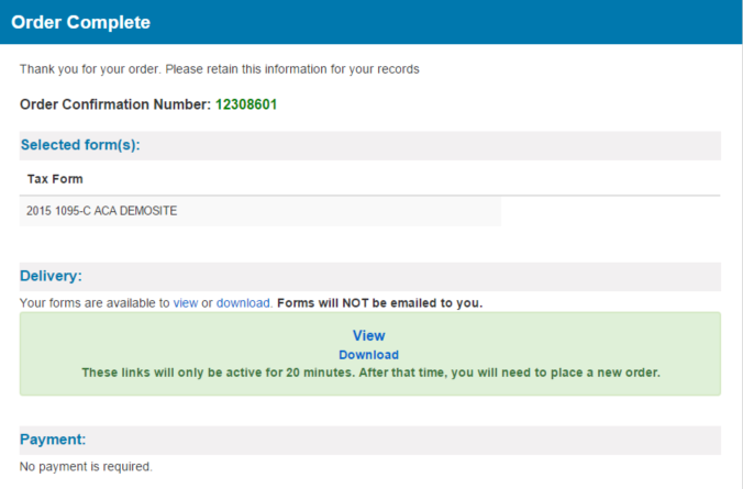 Screenshot: Landing page for 1095 site pointing out where the confirmation number is and where to download the file