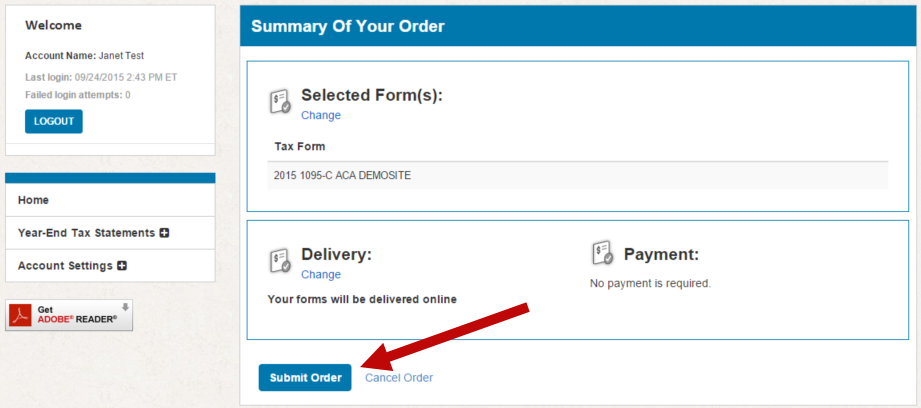 Screenshot: Landing page for 1095 site pointing out where to review the order details and confirm