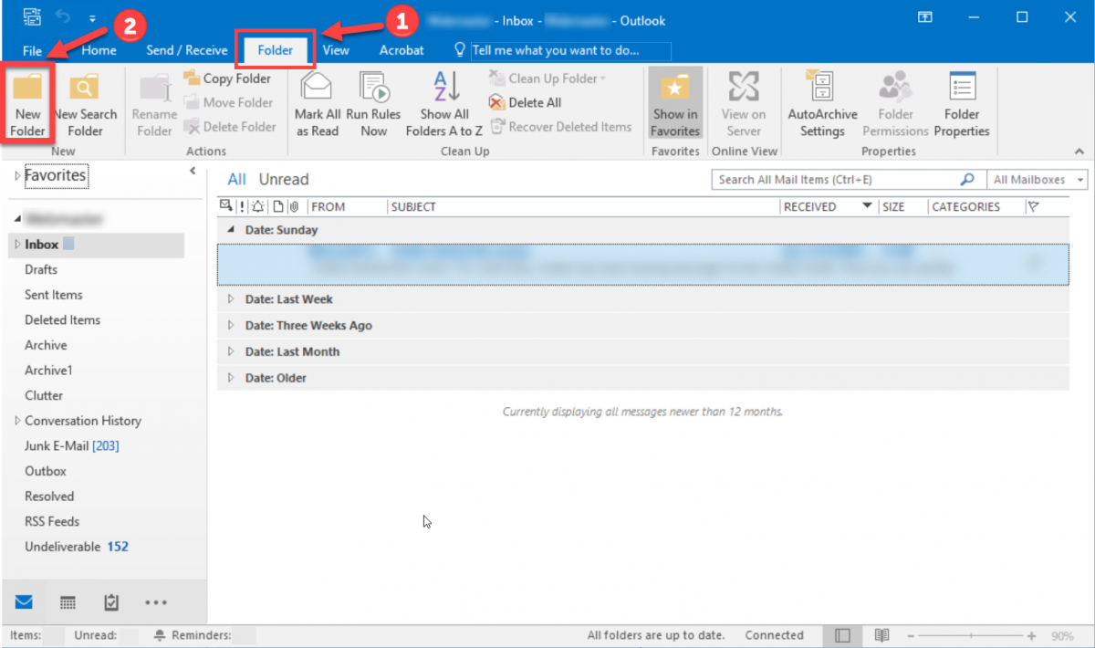 Screenshot of 'Folder' tab in Outlook