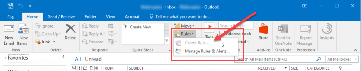 Screenshot of 'Rule' button in Outlook