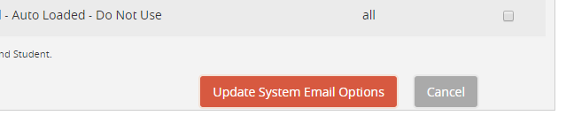 Screenshot of update button on 'Manage Emails' tab