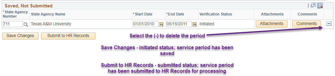 View edits for adding prior Texas State Service on the portal
