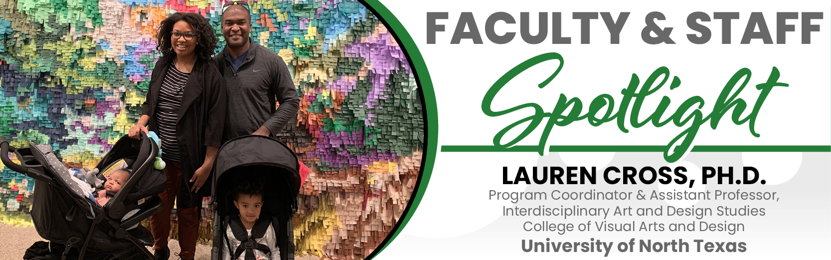 Faculty & Staff Spotlight: Lauren Cross, Ph.D., with her husband and two small children