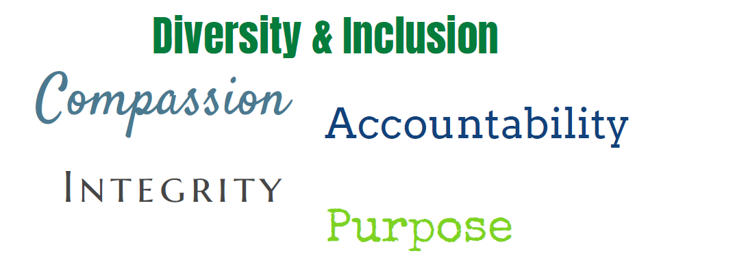 Diversity & Inclusion, Compassion, Accountability, Integrity, Purpose